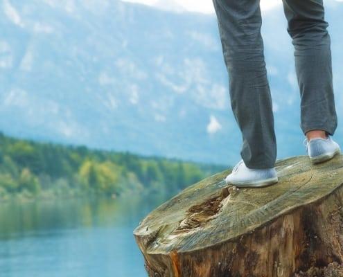 Står på træstub og ser ud over sø i naturen i balance med det sensitive potentiale